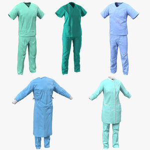3d doctor clothing 2 surgeon model