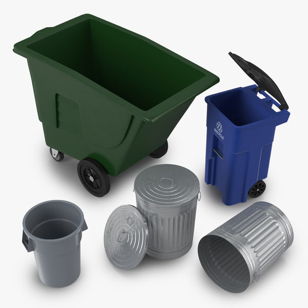 3ds garbage cans modeled