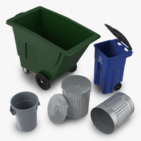 Garbage Cans 3D Models Collection