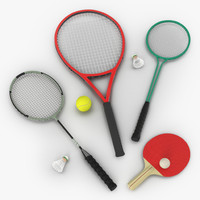 sport rackets 2 modeled 3d 3ds