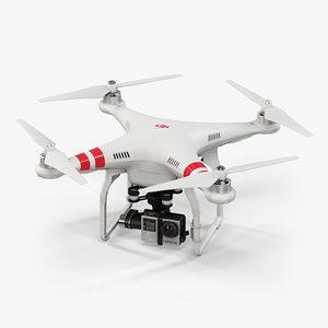 3d dji phantom 2 quadcopter