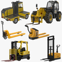 3d forklifts 2 modeled pallet