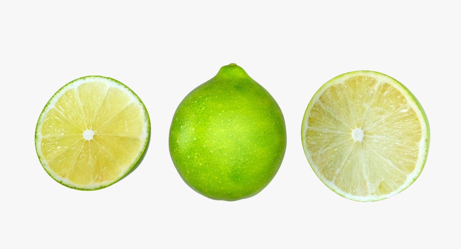 3d lime fruit food model