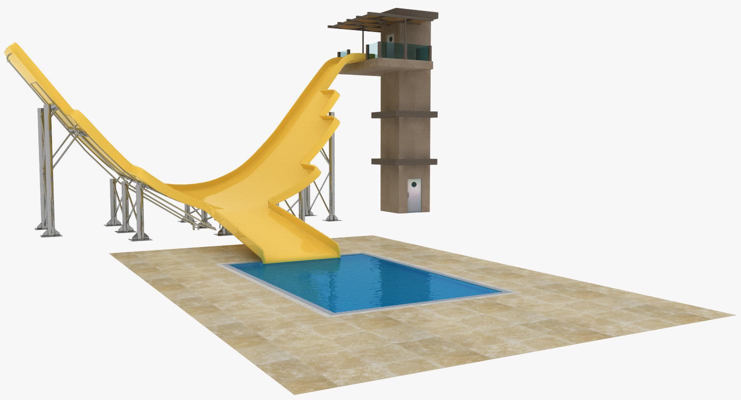 3d 3ds waterslide slide