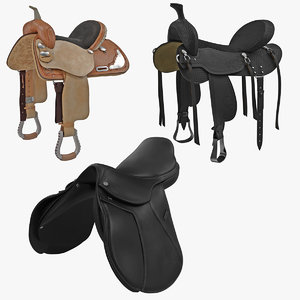 saddles set realistic 3d model