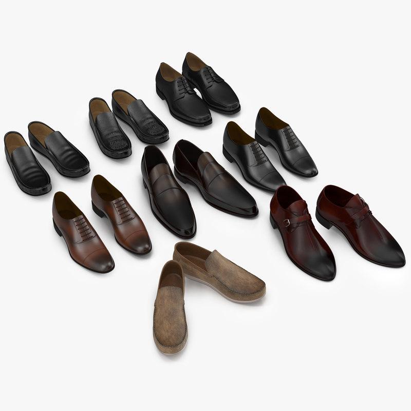 3d model man shoes 3 modeled
