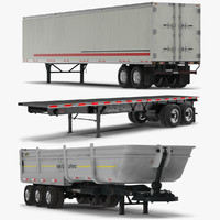 3d trailers set flatbed