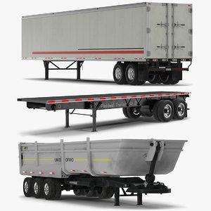 3d trailers set flatbed