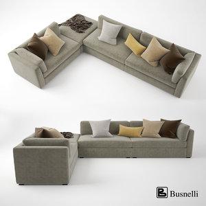 busnelli oh-mar corner sectional sofa 3d obj