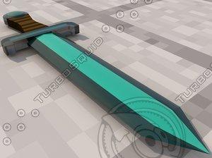 realistic minecraft sword 3d model