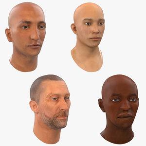 3d male heads