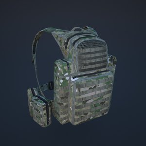 backpack soldiers tourists 3d model