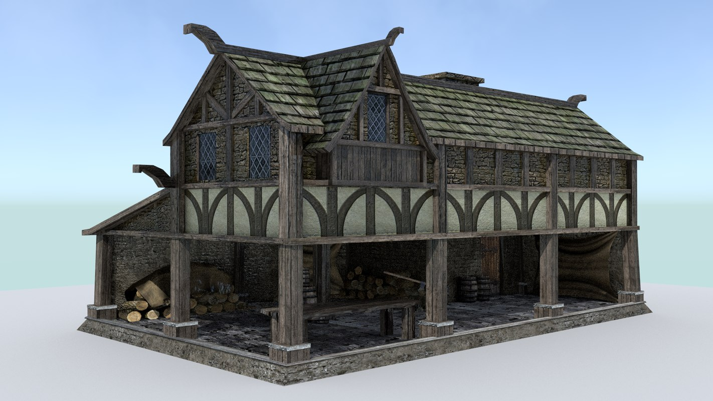 3d model woodcutter house medieval village