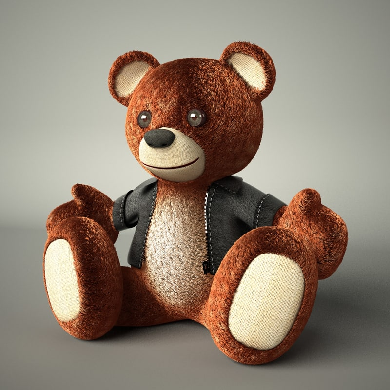 teddy bear leather jacket 3d model