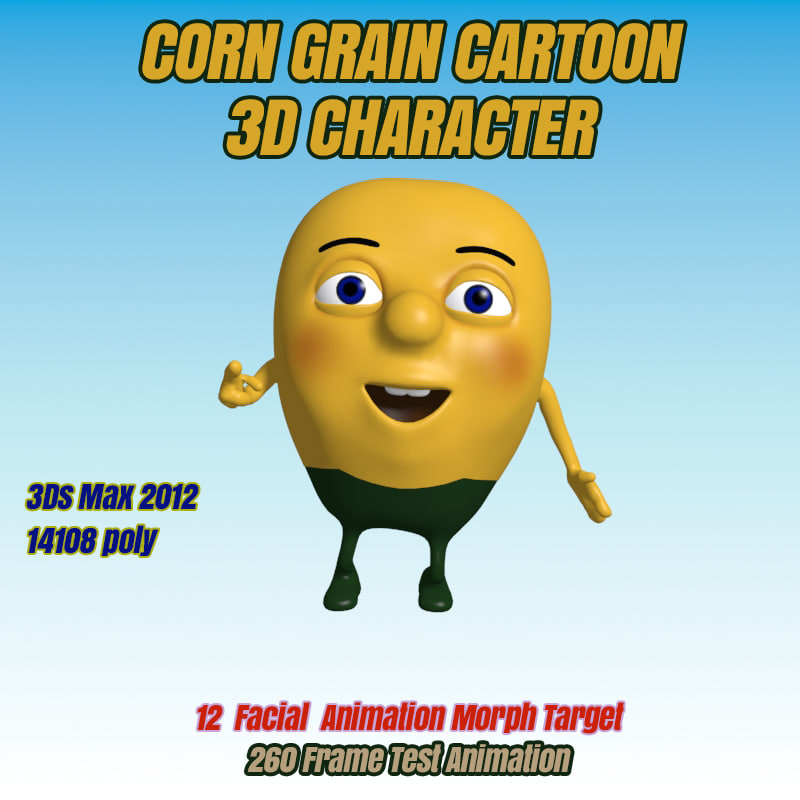 3d modeled corn grain character animation model