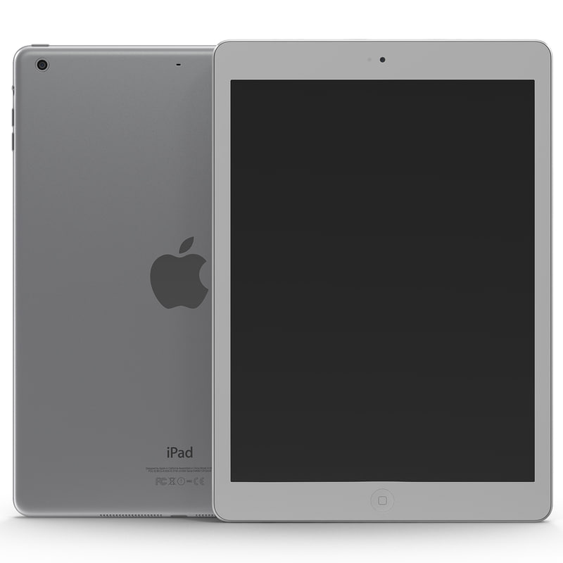3d ipad air silver modeled