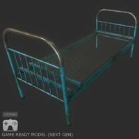 Low poly old bed