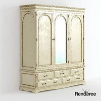 3d old wardrobe cupboard battered model