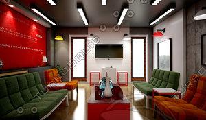 3d model of lobby scene lights