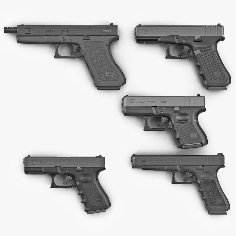 glock pistols 2 modeled 3d max