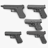 Glock Pistols 3D Models Collection 2