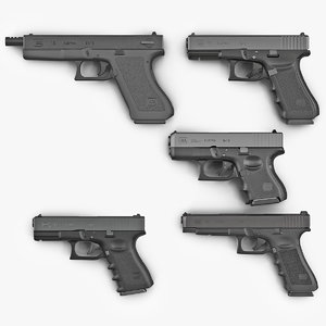 glock pistols 2 modeled 3d max