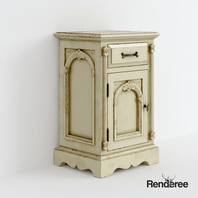 3d old victorian bedside cupboard model