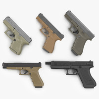 Glock Pistols 3D Models Collection