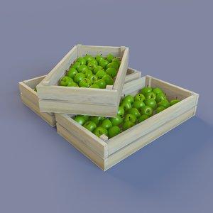 3d model juicy green apples