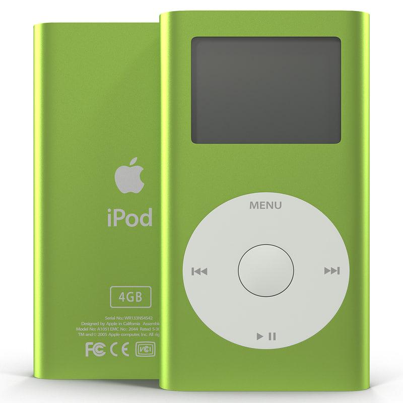 Ipod Mini Green 3d Model