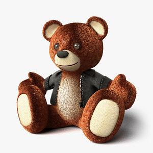 teddy bear leather jacket 3d model