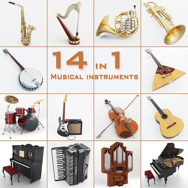 musical instruments 14 3d model