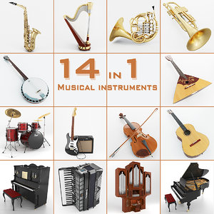 musical instruments 14 3d model