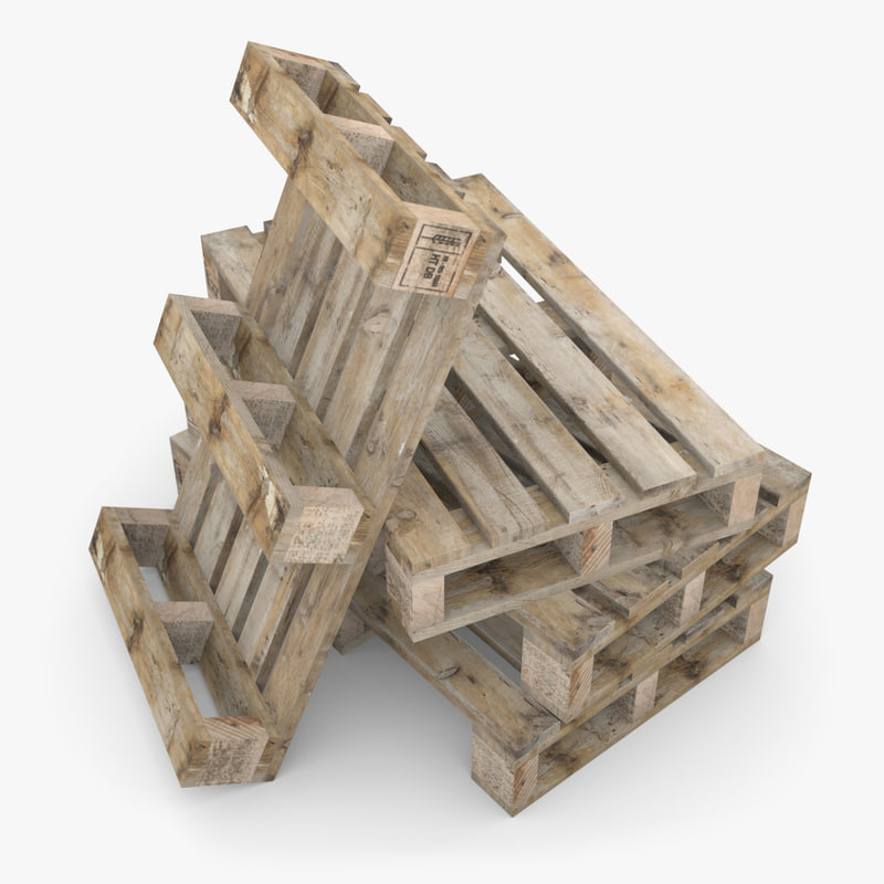 3d model french wooden pallet