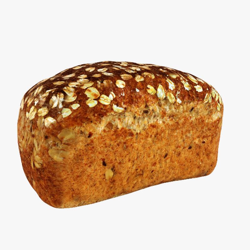 3d model bread wholemeal loaf