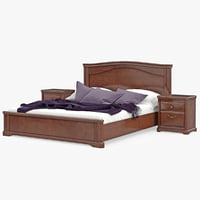 Furniture Wooden Classic Bed With Bedside Tables