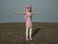 3d cartoon girl anim model