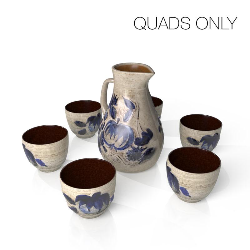 ceramic jug cups 3d model