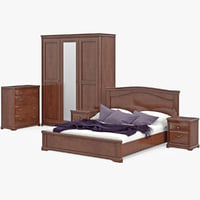 Set Classic Wooden Furniture For Bedroom Bed With Bedside Tables, Cabinet, Cupboard, Commode