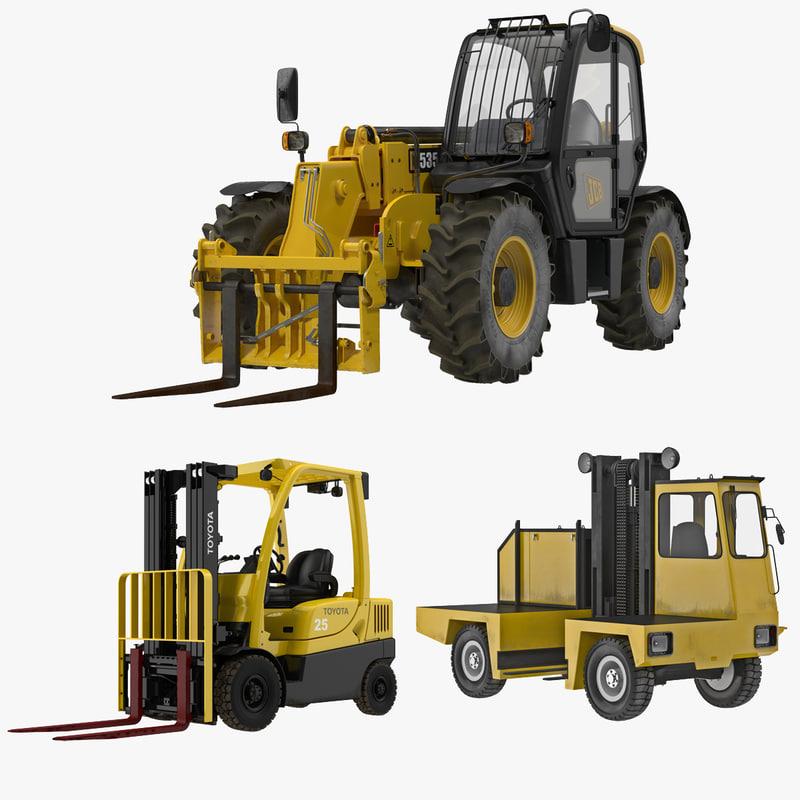 forklifts modeled truck 3d 3ds