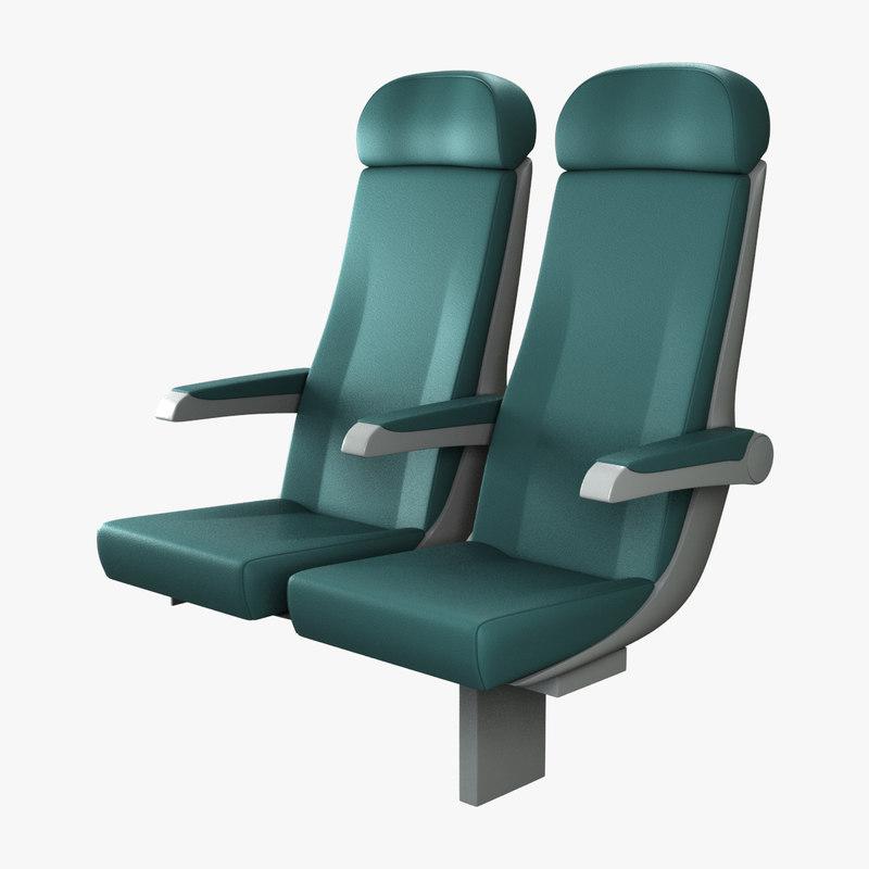 realistic train seat rigged obj