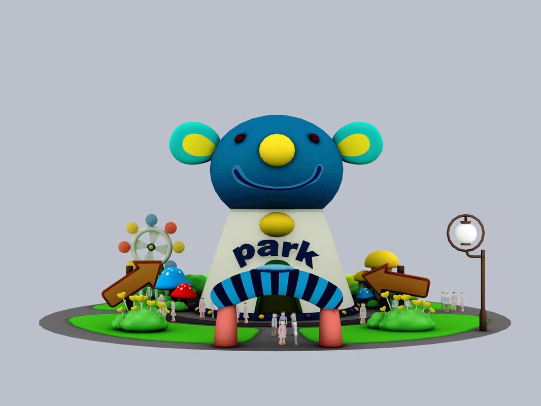 cartoon park house 3d model