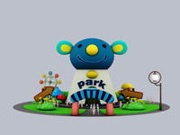 cartoon park house 3d model