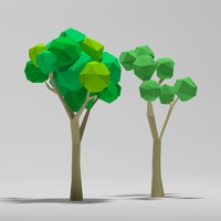 Cartoon low poly trees