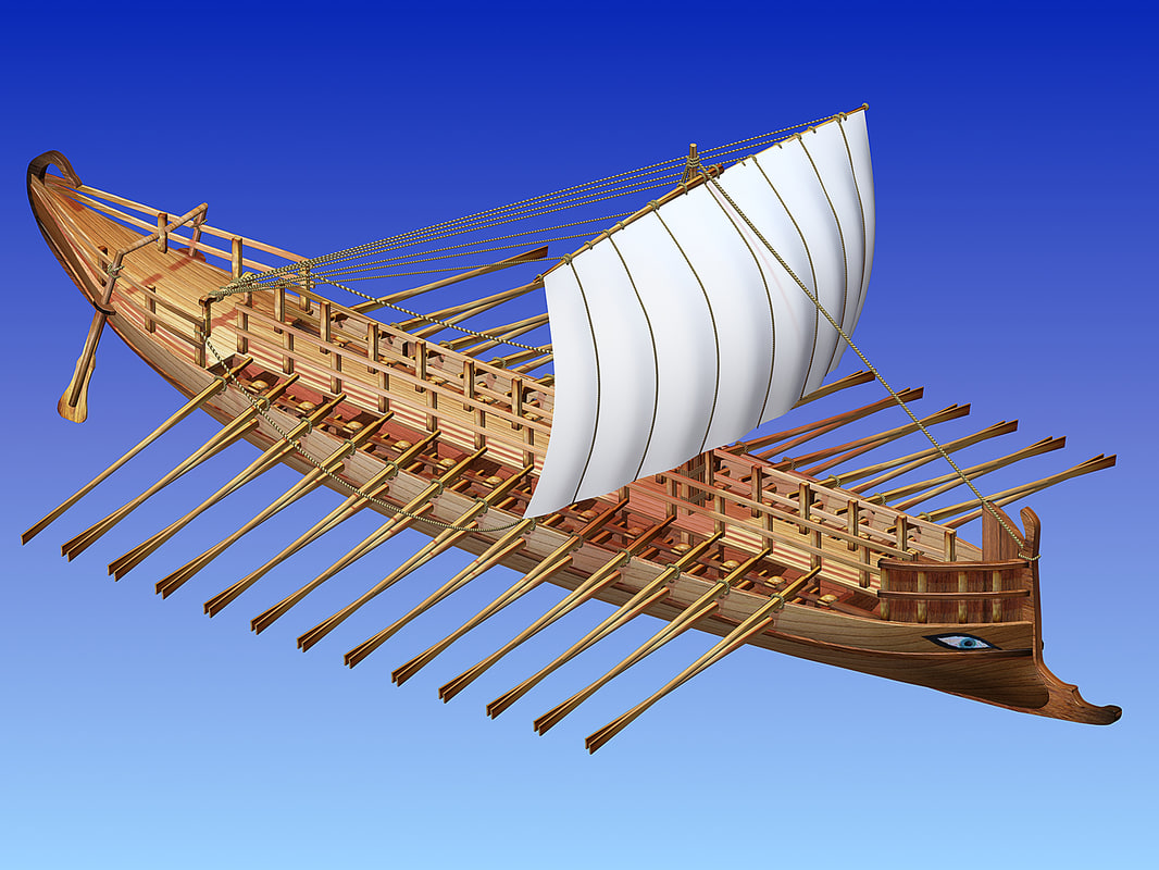 greek ancient ship bireme obj