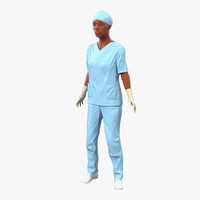Female Surgeon African American Rigged 2