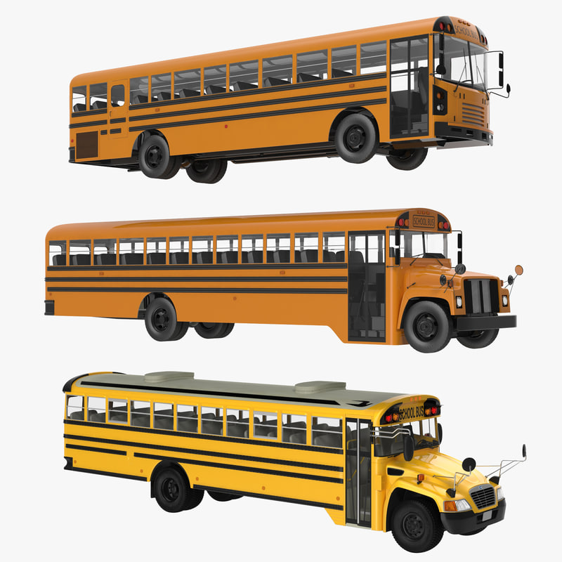 3d school buses modeled bus model