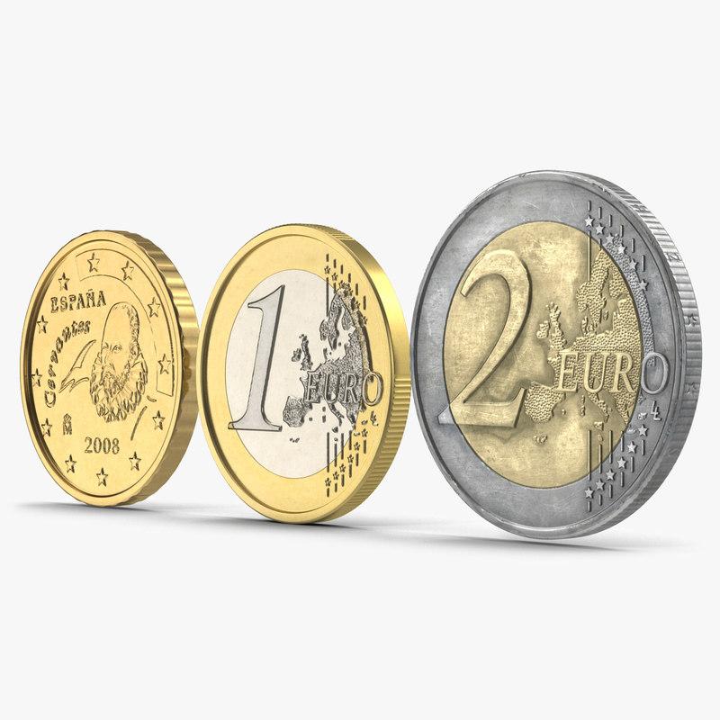 spain euro coins c4d