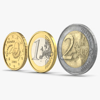 Spain Euro Coins 3D Models Collection