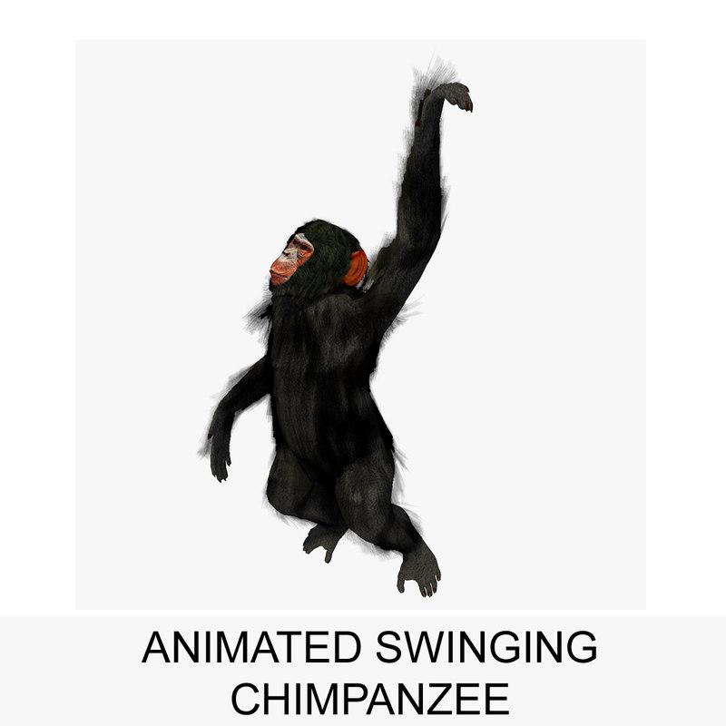 rigged chimpanzee swinging animation 3d 3ds